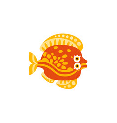 cute flounder fish hand drawn vector image