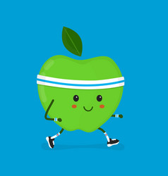 fitness sport run apple modern flat vector image