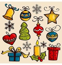 Hand drawn Christmas ornaments vector image