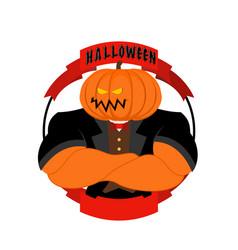 Strong pumpkin for halloween powerful vegetable vector