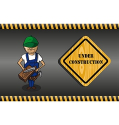 Wood worker cartoon under construction sign vector image vector image