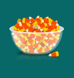 bowl and candy corn sweets on plate traditional vector image