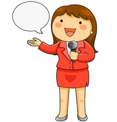 female TV reporter vector image