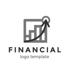 financial logo design template logo with chart vector image vector image