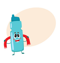 funny smiling protein shaker bottle character with vector image vector image
