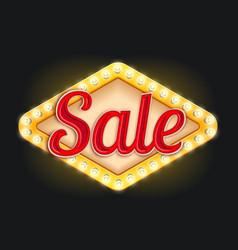 sale neon light lamp retro signboard icon vector image vector image