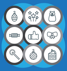 set of 9 happy new year icons includes christmas vector image