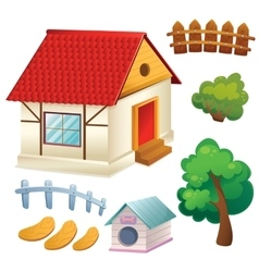 Set Of House Trees And Fence vector image