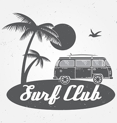 Surf club concept Summer surfing retro badge vector image vector image