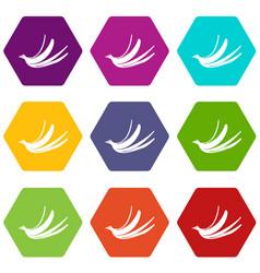 banana peel icon set color hexahedron vector image