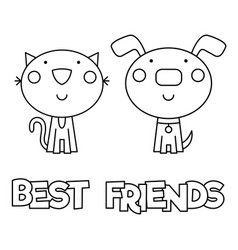 Best friends coloring page vector