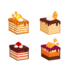 cakes pieces collection vector image