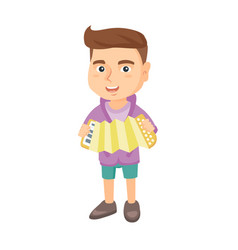 caucasian boy playing the accordion vector image