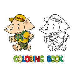 Running little baby elephant coloring book scout vector