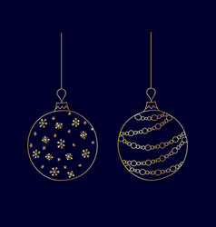 set of hand drawn golden christmas ball toy vector image vector image