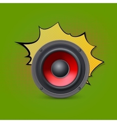 Speaker on pop-art background vector image