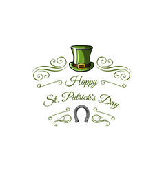 st patricks day leprechaun hat horseshoe swirls vector image