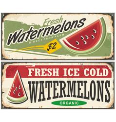watermelons retro advertisement vector image vector image