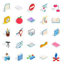 academy icons set isometric style vector image