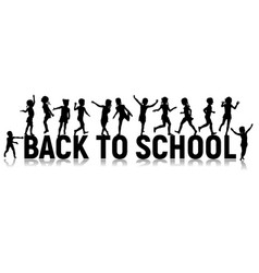 back to school letters and silhouettes happy vector image vector image
