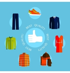 Best quality clothes Flat style design quality vector image vector image