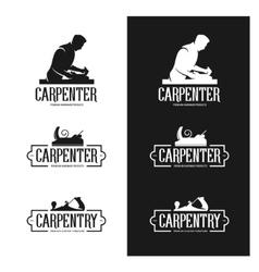 Carpentry vintage labels set carpenter emblems vector