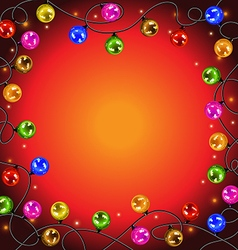 garland with colorful balls and lights vector image vector image