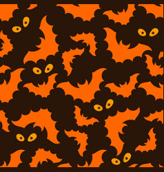 halloween pattern with bats and eyes vector image