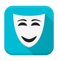 Happy mask app icon with long shadow vector