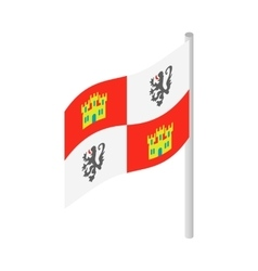Royal Spanish flag on Columbus ship icon vector image