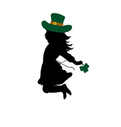 silhouette girl jumps happy saint patricks day vector image vector image