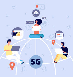 5g people on globe with devices with mobile vector image
