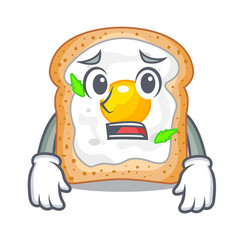 Afraid sandwich with egg above character board vector