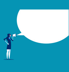 Angry woman is shouting through megaphone concept vector