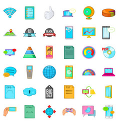 audio system icons set cartoon style vector image