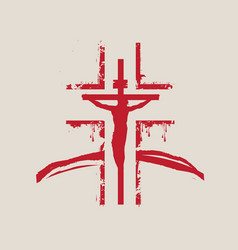 Banner with abstract red cross and crucifixion vector