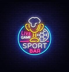 bar bar logo in neon style football fan club vector image