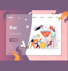 bar website landing page design template vector image
