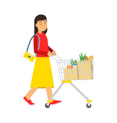 Beautiful young brunette woman with shopping cart vector