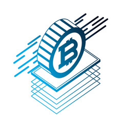 bitcoin isometric virtual cryptocurrency coin vector image