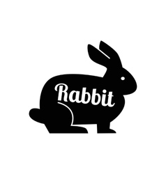 black rabbit silhouette vector image