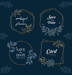 blue navy hand drawn wreath background collection vector image