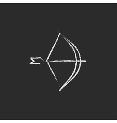 Bow and arrow icon drawn in chalk vector image