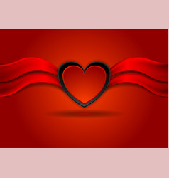 bright red valentines day background with heart vector image