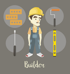Builder on a dark background vector