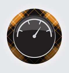 Button orange black tartan - gauge dial symbol vector