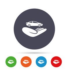 Car insurance sign hand holds transport vector