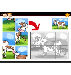 Cartoon cow jigsaw puzzle game vector