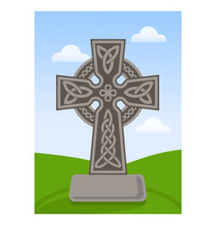 celtic ornamental cross flat vector image