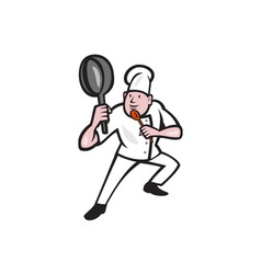 Chef Cook Holding Frying Pan Kung Fu Stance vector image